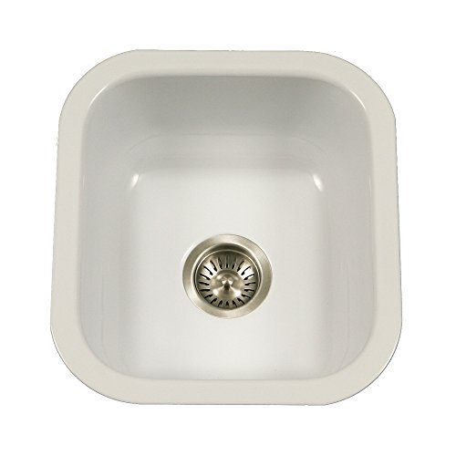 Houzer PCB-1750 WH Porcela Series Porcelain Enamel Steel Undermount Bar/Prep Sink, White (Deep Red Enamel)