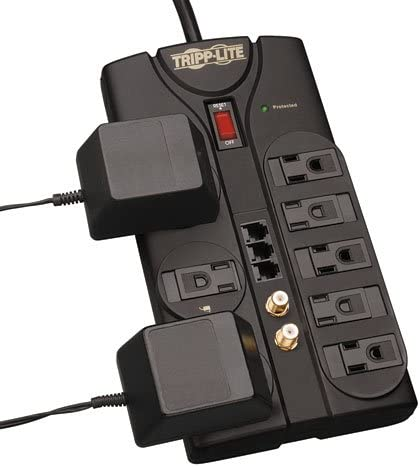 Tripp Lite 8 Outlet Surge Protector Power Strip, 8ft Cord, Right-Angle Plug, Tel Fax Modem Coax Protection, RJ11, 150,000 INSURANCE TLP808TELTV