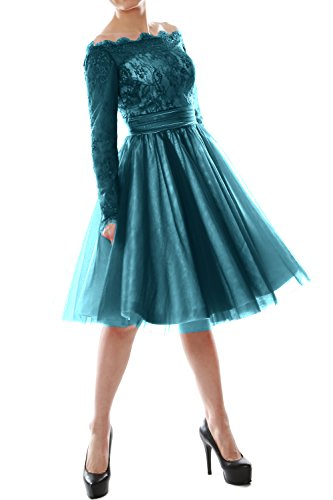 MACloth Women Off Shoulder Long Sleeve Lace Cocktail Dress Formal Evening Gown Teal