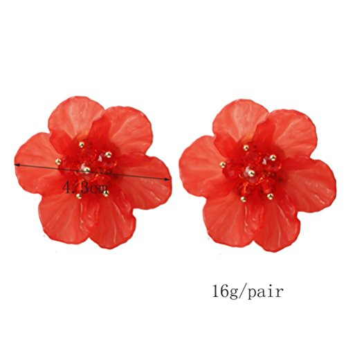 DDLBiz Fashion Women Lovely Flower Pearl Pendant Circle Stud Earrings (Red)