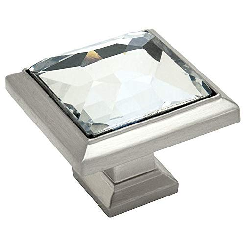 Nickel Brushed Crystal (10 Pack - Cosmas 5883SN-C Satin Nickel Cabinet Hardware Square Knob with Clear Glass - 1-1/4