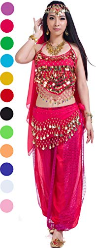Aladdin Outfit Costumes Belly Dance Accessories Halloween Carnival Rose Aa5 piece Hot Pink