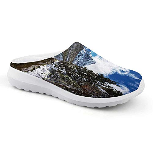 Winter Stylish Summer Mesh Sandals,Tranquil View of Glacier National Park in Montana Water Reflection Quiet Peaceful Decorative for Women,US 9
