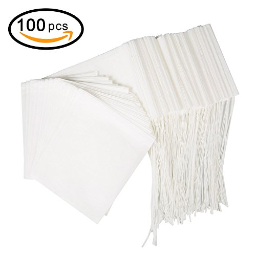 BetyBedy Tea Filter Bags, Disposable Tea Infuser, Safe & Natural Material, 1-Cup Capacity, Drawstring Empty Bag for Loose Leaf Tea, Set of 100(3.15 x 3.94 inch)