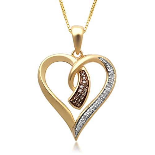 (Jewelili 14K Yellow Gold Plated Sterling Silver 1/10 cttw Champagne and White Diamond Heart Pendant, 18