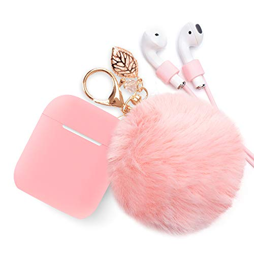 Airpods Case Keychain, BLUEWIND AirPod Protective Charging Case Cover, Portable Earpods Air Pods Carrying Cases with Strap, Keychain, Soft Fluffy Ball, Compatible with Apple AirPods 1&2 (Pink)
