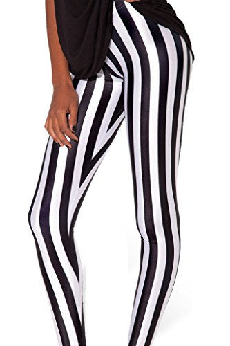 Sister Amy Women's High Waist Black and White Conrtrast Color Digital Printted Ankle Elastic Tights Legging]()