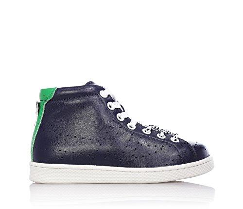 BIKKEMBERGS - Blaue Sneakers mit Schnürsenkel, aus Leder, seitlich ein Reißverschluss, Jungen