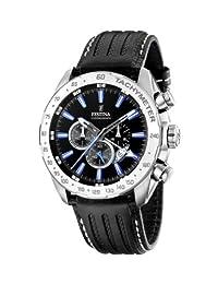 Festina Men's Crono F16489/3 Black Leather Quartz Watch with Black Dial