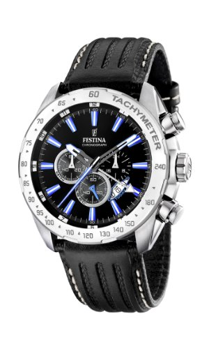 Festina Men's Crono F16489/3 Black Leather Quartz Watch with Black Dial