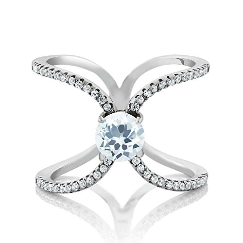 1.33 Ct Round Sky Blue Aquamarine 925 Sterling Silver Criss Cross X Women's Ring (Ring Size 7)