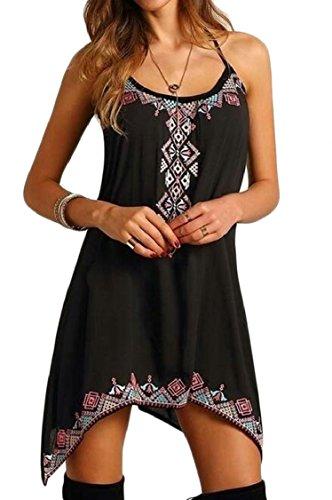 Sexy Jaycargogo Womens Casual Dress Loose Black Spaghetti Beach Straps Irregular wxpqBaCx