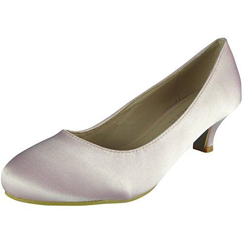 Womens Satin Bridesmaid Posh Court Shoes Size 3-8 Pink