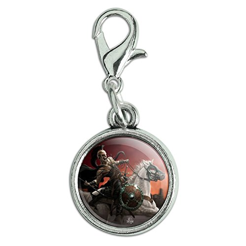 Rider Pull - Graphics and More Dark Undead Skeleton Warrior Rider Fantasy Antiqued Bracelet Pendant Zipper Pull Charm with Lobster Clasp