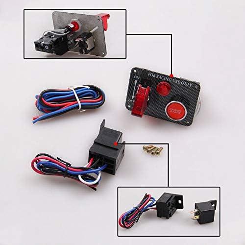 車の改造カーボンファイバーパネルイグニッションワンボタンスタートスイッチ多機能パワーオフスイッチカーアクセサリー-ブラック