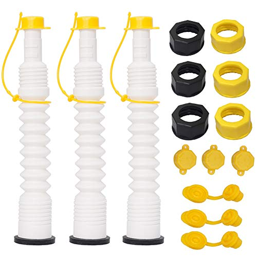 ORANDESIGNE Replacement Spout Kit Old-Style Gas Can Pour Spout Nozzle Update Your Old Plastic Fuel Kerosene Diesel Cans and Water Jugs White 3 Pack