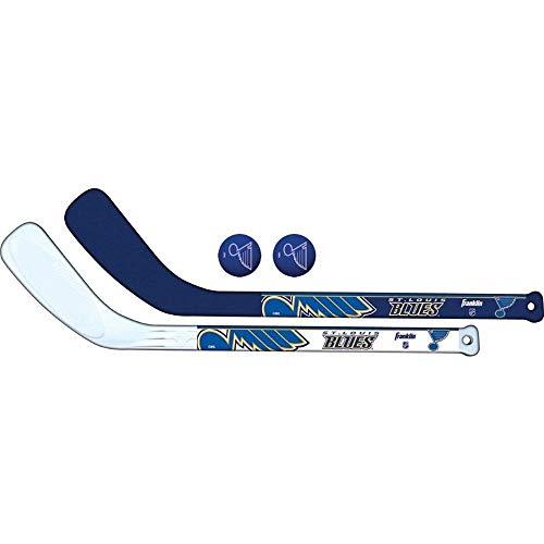 (Franklin Sports NHL St. Louis Blues Mini Hockey 2 Piece Player Stick Set)