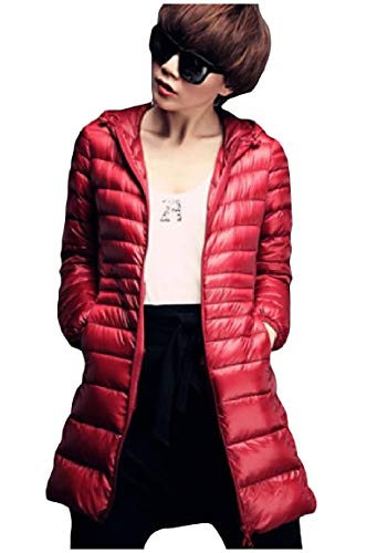 size Rosso Leggero Cappuccio Outwear Peso Mogogo Ultra Con Giù Cappotto Delle Plus Packable Zip Full Donne qEnHTwZ