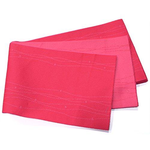 陪審旋回無駄に浴衣帯 単衣 半幅帯【紅赤ピンク 波しずく 14995】日本製