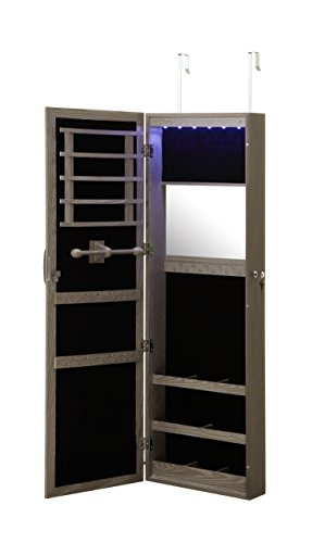 Abington Lane Over The Door Jewelry Armoire - Lockable Wall Mounted Organizing Cabinet with Full Length Mirror and LED Lights (Heathered Wood)