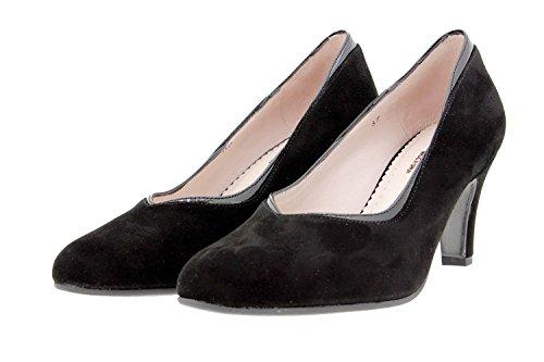 Mujer Piesanto Vestir Piel Ancho 9206 De Confort Calzado Zapato Negro Cómodo Salón dwAIqnax