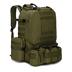 4 In 1 Multifunctional Military Tactical Backpack 50L 600D Oxford Camouflage Hiking Backpack Waterproof Sport Climbing Bag Army Green 50 - 70L