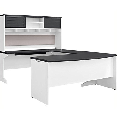 Bowery Hill U-Shaped Office Set in White and Gray by Bowery Hill