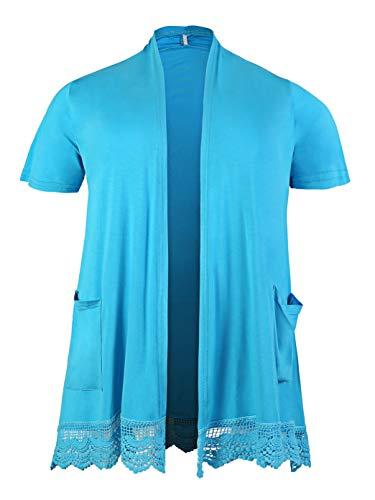 ZERDOCEAN Women's Plus Size Short Sleeve Lace Trim Lightweight Printed Drape Cardigan with Pockets Sky Blue -