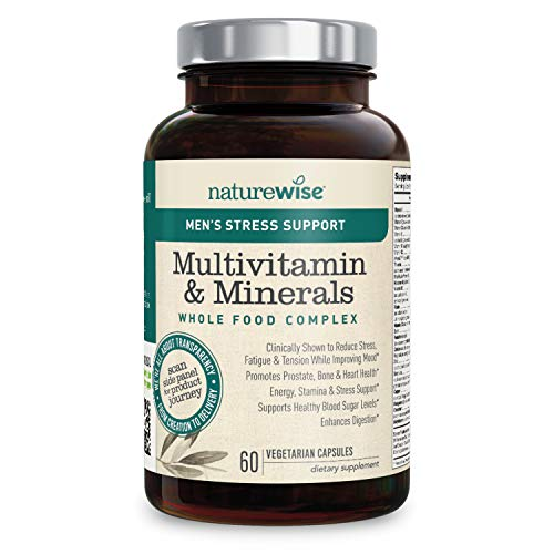 NatureWise Men's Whole Food Multivitamin with Stress Support | Minerals Complex + Sensoril Ashwagandha Organic Extract Clinically Proven Stress Support (⬇ Watch Video in Images) [1 Month - 60 Count]
