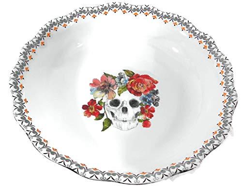222 Fifth Marbella Skull Pie Plate Baking Serving Bowl -