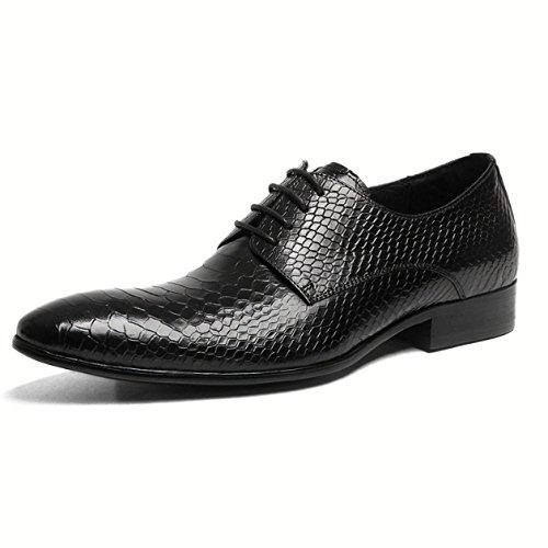 XYCSZQ Chaussures en Cuir Hommes Caoutchouc Pointu Creux Affaires Portable Absorption des Chocs Aide Faible Confort Black
