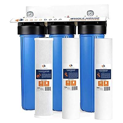 "3-Stage Big Blue 20"" Whole House Filtration System by Aquaboon+Housing Bracket+Pressure Gauges+Carbon Block+2 of Sediment Filter Cartridges..."