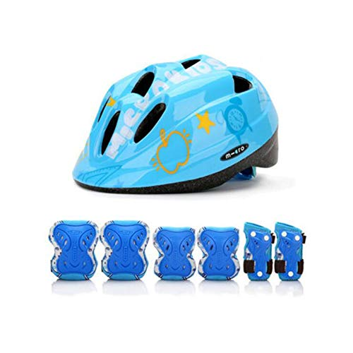 (FH Children's Armor Boy Girl Bicycle Armor Child Armor with Knee/Elbow/Wrist Pad Bicycle Scooter - 7 Pieces (Color : Blue))