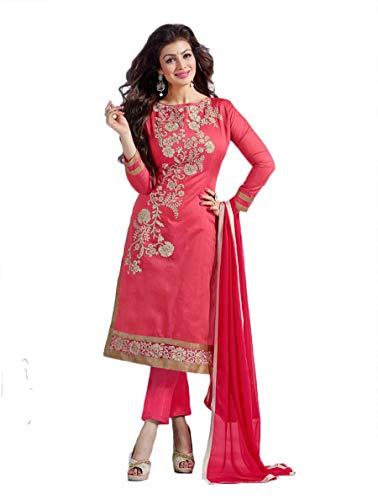 Mirraw Pink Embroidered Chanderi Unstitched Salwar Suit with Dupatta