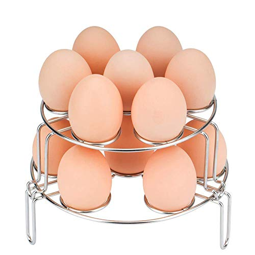 AukeyStar 2 pack Stainless Steel Stackable Egg Steamer Rack for Instant Pot Accessories,Stackable Steam Rack for Pressure Cooker Accessories (2 Pack)