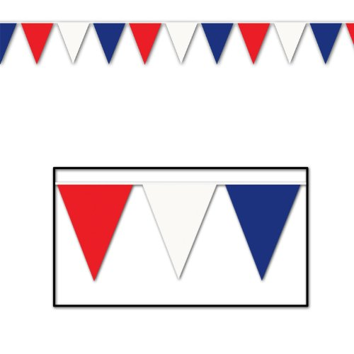 Beistle 50700-RWB Red Blue Outdoor Pennant Banner, 17 by 120-Feet -
