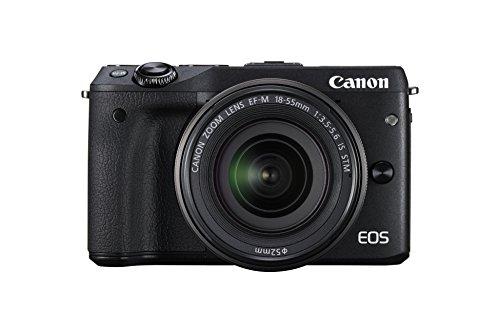 Canon EOS M3 Systemkamera (24 Megapixel APS-C CMOS-Sensor, WiFi, NFC, Full-HD) Kit inkl. EF-M 18-55 mm IS STM Objektiv schwarz