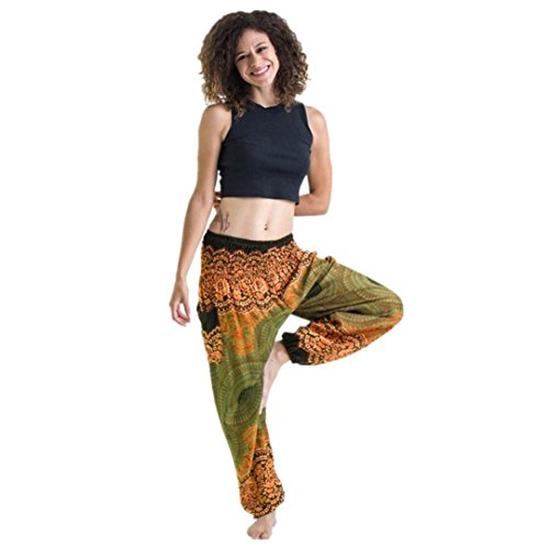 Clearance ! Litetao - Thai Harem Trousers ! Hot Sale ! New ! Men Women Thai Harem Trousers Festival Hippy Smock Yoga Pants Fisherman Pants (Free Size, Yellow)