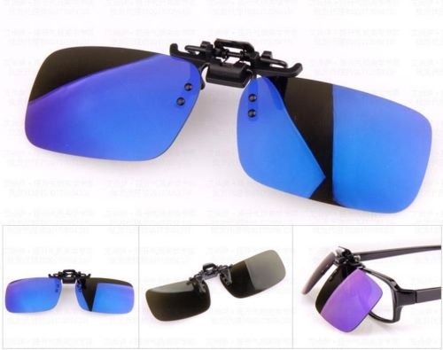 XENO-1X Polarized Clip On Flip Up Sunglasses Mirrored Clip for Myopia Glasses Driving(blue - Clip On Sunshade Gradient