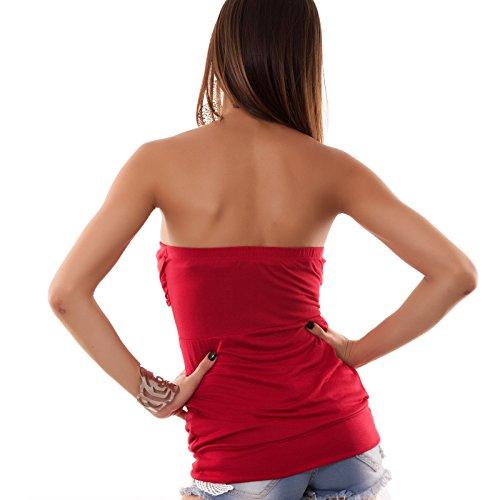 bustino sottogiacca Toocool maglietta colorata SM73 maglia Rosso donna IS Top jersey RqppwFf