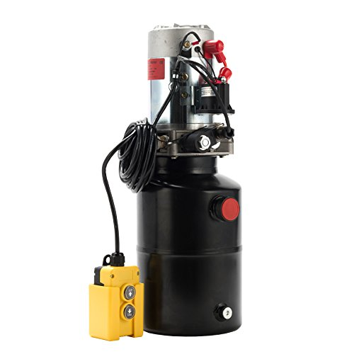 CO-Z 12V Single Acting Hydraulic Pump with 6 Quart Reservoir, 3200PSI Hydraulic Power Unit with Control Remote to Lift Dump Trailer Tipper Trailer Gates - Single Acting Pump