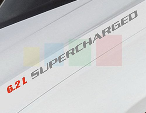 2pc 1 x 14 6.2L SUPERCHARGED Decal Red Silver sticker Compatible with Chevrolet, Dodge,mitsubishi,BMW,Range Rover, Jaguar and more by Clown Lizard Graphics