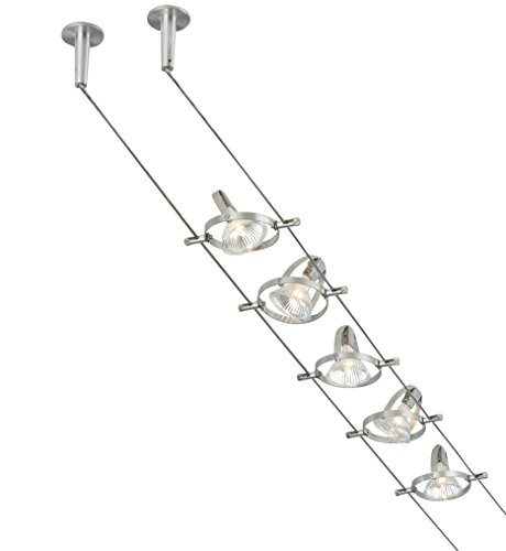 Monorail Fixture - Tiella 800CBL5PN, Accent Electronic Low Volt Surface Track Lighting Kits, 100 Watts Halogen, Nickel