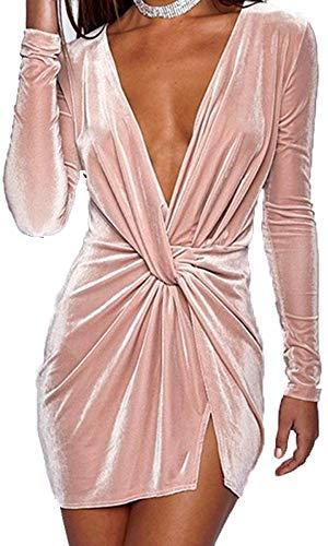 Yissang Women's Velvet Ruched Deep V Neck Long Sleeves Split Bodycon Mini Dress Pink Small ()