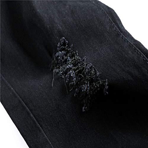 Confortevole Casual Distrutti A Pantaloni Mode In Moda Estate Marca Vita Da Di Jeans Nero Media Uomo BUqYYt