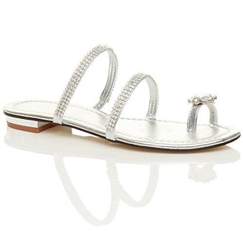 Ajvani Damen Flach Kleine Absatz Strass Zehenring Riemchen Zehentrenner Sandalen Größe Silber