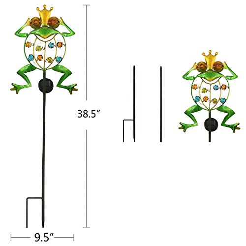 TAKE ME Garden Solar Lights Outdoor,Solar Powered Stake Lights - Metal OWL LED Decorative Garden Lights for Walkway,Pathway,Yard,Lawn (Frog.) by TAKE ME (Image #3)