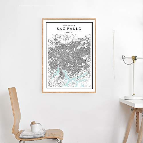 Wendore Sao Paulo Map Print Custom City Map Map of Sao Paulo Sao Paulo Map Poster Sao Paulo City Map Brazil Map Print Sao Paulo Wall Art Framed Wall Art