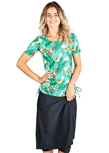 7beddc3d6dea9 Ella Mae Modest Swimsuit for Women with Short Sleeve Swim Shirt and Swim  Skirt with Knee Length Swim Capri Leggings (S-XXXL)
