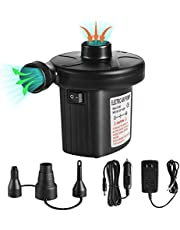 Electric Air Pump, Quick Fill Air Pump for Inflatable Couch, Airbeds, Swimming Ring, Inflatable Pool,Boat, Powerful Electric Inflator Air Pump with 3 Nozzles 110V AC/12V DC